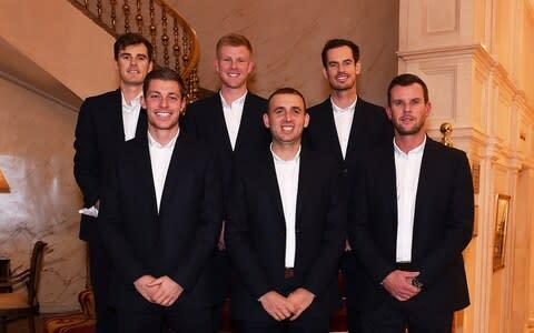 <span>Great Britain's Davis Cup team from left to right, top to bottom: Jamie Murray, Kyle Edmund, Andy Murray, Neal Skupski, Dan Evans and Leon Smith</span> <span>Credit: GETTY IMAGES </span>