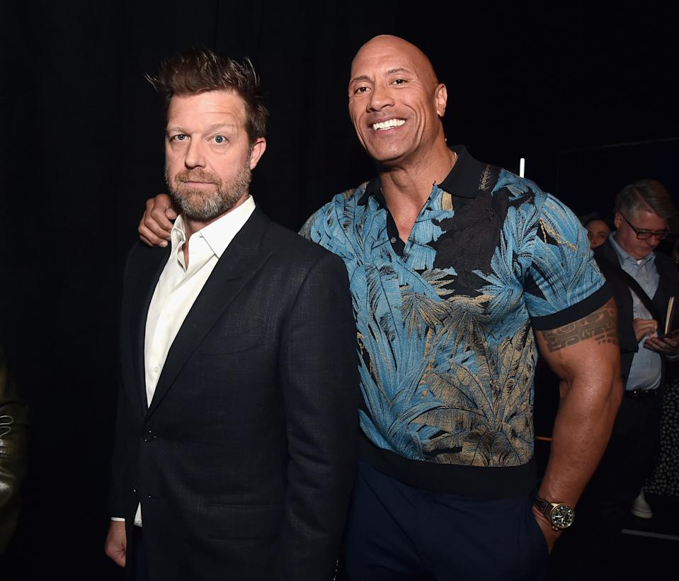 LAS VEGAS, NV - APRIL 03: (L-R) Director David Leitch and Dwayne Johnson at CinemaCon 2019 Universal Pictures Invites You to a Special Presentation Featuring Footage from its Upcoming Slate at The Colosseum at Caesars Palace during CinemaCon, the official convention of the National Association of Theatre Owners, on April 3, 2019 in Las Vegas, Nevada.  (Photo by Alberto E. Rodriguez/Getty Images for CinemaCon)