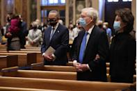 <p>Mitch McConnell and his wife, former transportation secretary Elaine Chao, attend the service, as does Chuck Schumer (left).</p>