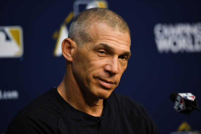 Oct 12, 2017; Houston, TX, USA; New York Yankees manager Joe Girardi (28) speaks at a press conference during workouts at Minute Maid Park. Mandatory Credit: Shanna Lockwood-USA TODAY Sports