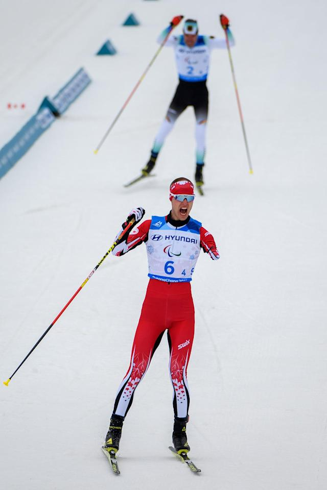 Mark Arendz of Canada crosses the finish line during the Cross Country Skiing 4x2.5km Mixed Relay at the Alpensia Biathlon Centre. The Paralympic Winter Games, PyeongChang, South Korea, Sunday 18th March 2018. OIS/IOC/Thomas Lovelock/Handout via Reuters