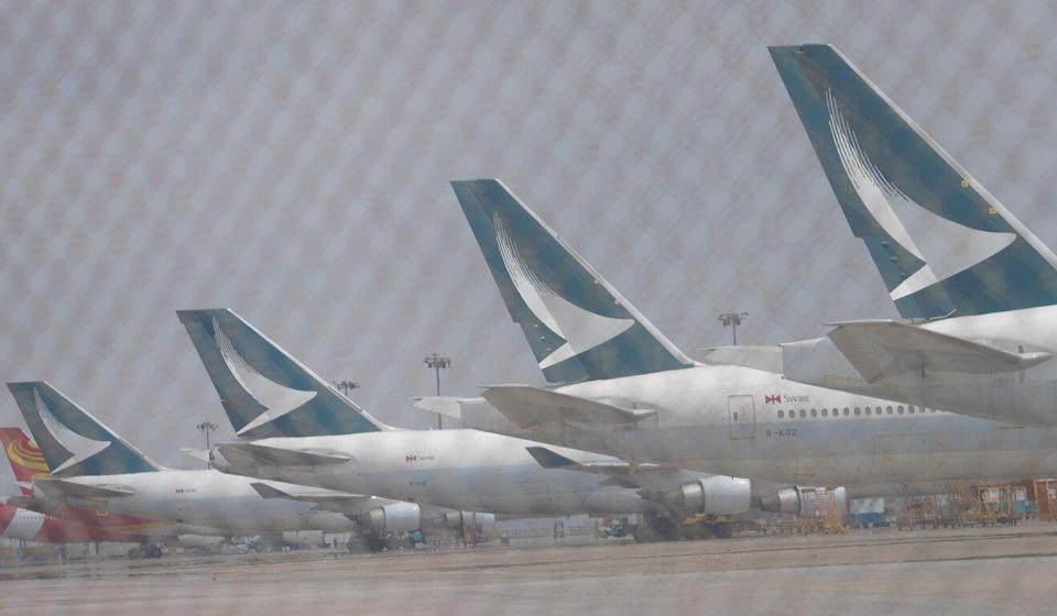 Cathay planes on the tarmac in Hong Kong. The carrier has been hammered by the pandemic. Photo: Winson Wong