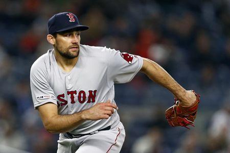 FILE PHOTO: Apr 17, 2019; Bronx, NY, USA; Boston Red Sox pitcher Nathan Eovaldi (17) reacts against the New York Yankees during the fourth inning at Yankee Stadium. Mandatory Credit: Adam Hunger-USA TODAY Sports