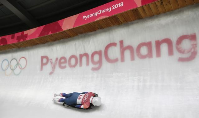 Pyeongchang 2018 Winter Olympics Skeleton - Pyeongchang 2018 Winter Olympics - Women's Finals - Olympic Sliding Centre - Pyeongchang, South Korea - February 17, 2018 - Kendall Wesenberg of U.S. competes. REUTERS/Arnd Wiegmann