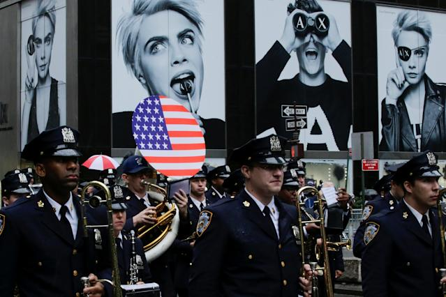 <p>NYPD marching band takes part in the 73rd Annual Columbus Day Parade in New York, Oct. 9, 2017. (Photo: Eduardo Munoz/Reuters) </p>