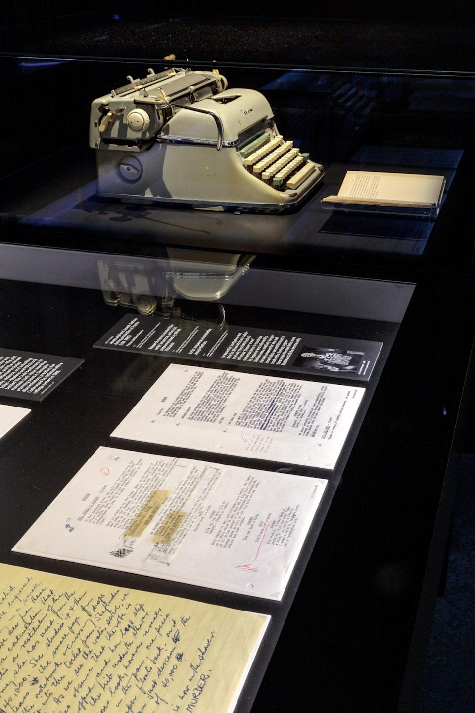 <p>The typewriter Joseph Stefano used to write <em>Psycho</em> is featured prominently, alongside pages of the script.</p>