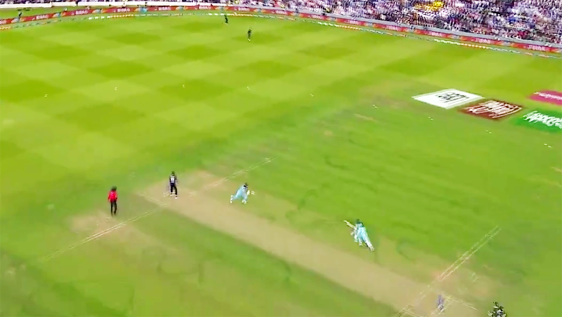Ben Stokes and Adil Rashid hadn't crossed when the throw came in. Image: Channel Nine