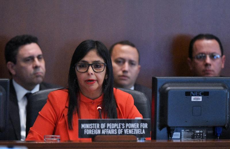 Venezuela's Foreign Minister Delcy Rodríguez addresses the Organization of American States (OAS) meeting in Washington, DC, on March 27, 2017 (AFP Photo/Mandel Ngan)