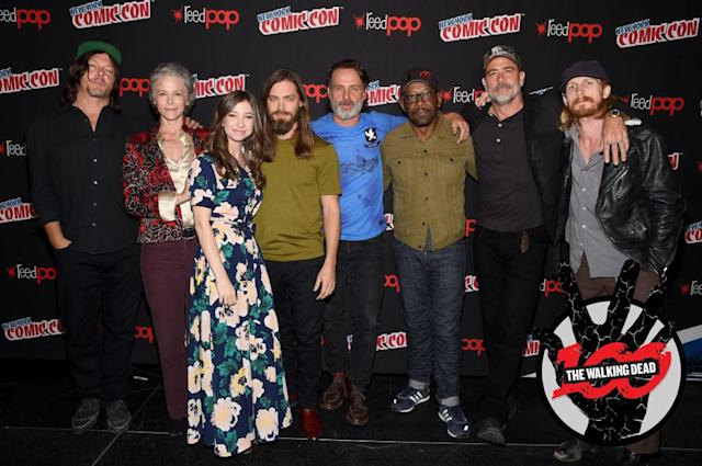 Norman Reedus, Melissa McBride, Katelyn Nacon, Tom Payne, Andrew Lincoln, Lennie James, Jeffrey Dean Morgan, and Austin Amelio at the NYCC <i>The Walking Dead</i> panel at The Theater at Madison Square Garden on October 7, 2017 in New York City (Photo by Jamie McCarthy/Getty Images for AMC)