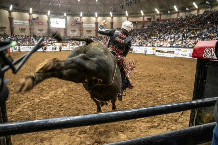 A bull rider enters the riding area at the San Angelo Stock Show and Rodeo, April 16, 2021 in San Angelo, Texas