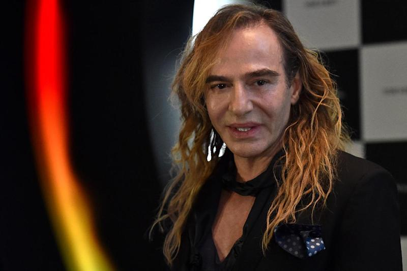 A picture taken on May 22, 2014 shows British designer John Galliano during a press conference at the Barvikha Luxury Village Concert Hall just outside Moscow