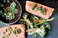 """The key to this <a href=""""https://www.epicurious.com/recipes-menus/easy-sheet-pan-dinners-recipes-chicken-salmon-shrimp-steak-fast-weeknight-meals-gallery?mbid=synd_yahoo_rss"""" rel=""""nofollow noopener"""" target=""""_blank"""" data-ylk=""""slk:sheet-pan dinner"""" class=""""link rapid-noclick-resp"""">sheet-pan dinner</a> is giving the broccoli a head start before you add the salmon, since it takes a bit longer to cook. <a href=""""https://www.epicurious.com/recipes/food/views/roast-salmon-and-broccoli-with-chile-caper-vinaigrette-51193100?mbid=synd_yahoo_rss"""" rel=""""nofollow noopener"""" target=""""_blank"""" data-ylk=""""slk:See recipe."""" class=""""link rapid-noclick-resp"""">See recipe.</a>"""