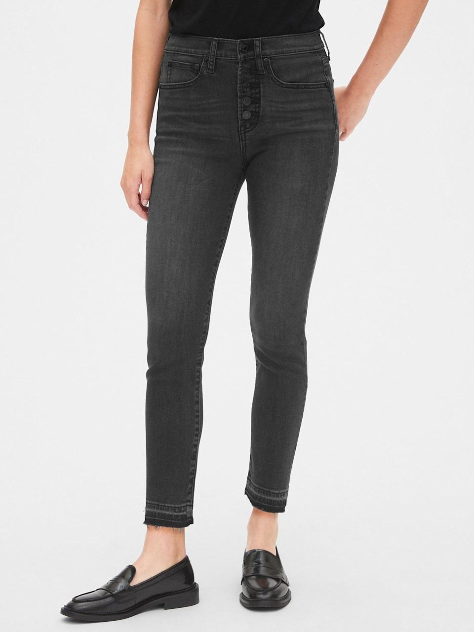 """<p>""""I've turned all my friends on to these <span>Gap High Rise True Skinny Ankle Jeans With Secret Smoothing Pockets</span> ($42, originally $60). They're flattering, affordable, and come in so many cute colors. They've got plenty of stretch, and I have willingly worn them while traveling."""" - IY</p>"""