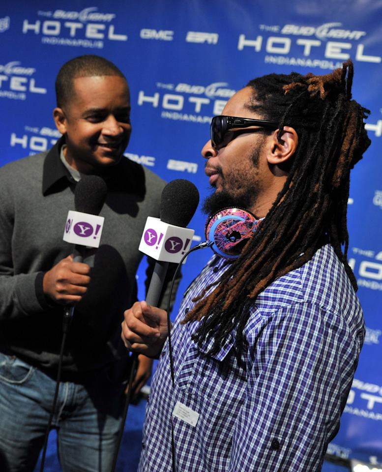 INDIANAPOLIS, IN - FEBRUARY 04:  Rapper Lil Jon attends Bud Light Hotel featuring concerts by 50 Cent, Lil Jon and Pitbull at Bud Light Hotel on February 4, 2012 in Indianapolis, Indiana.  (Photo by Stephen Lovekin/Getty Images for Bud Light Hotel)