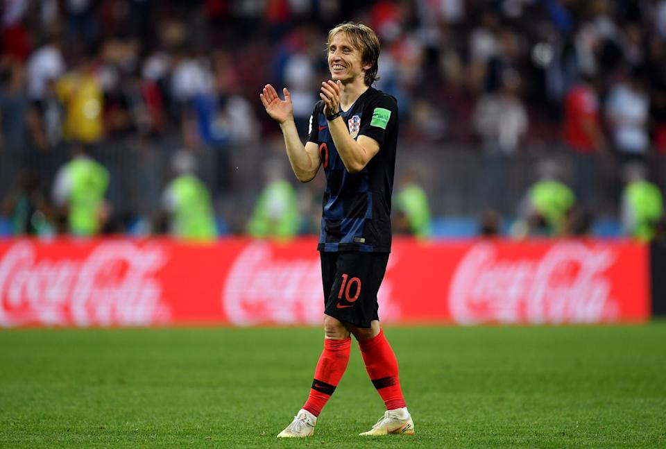 Luka Modric of Croatia celebrates victory after the 2018 FIFA World Cup Russia Semi Final match between England and Croatia at Luzhniki Stadium on July 11, 2018 in Moscow, Russia. (Getty Images)