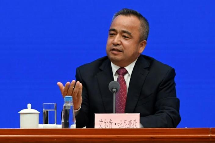 Alken Tuniaz, vice chairman of Xinjiang, said 'most personnel who have received educational training have already returned to society' (AFP Photo/WANG ZHAO)