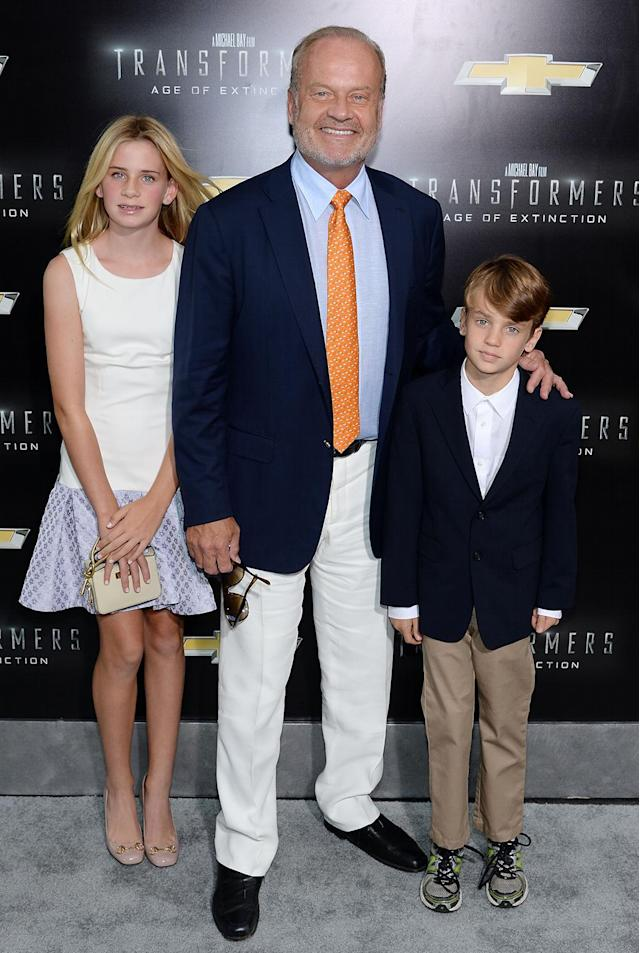 <p>Grammer — who plays a corrupt government agent in <em>Age of Extinction</em> — brings along children Jude and Mason to the New York premiere. (Photo: Dimitrios Kambouris/Getty Images) </p>