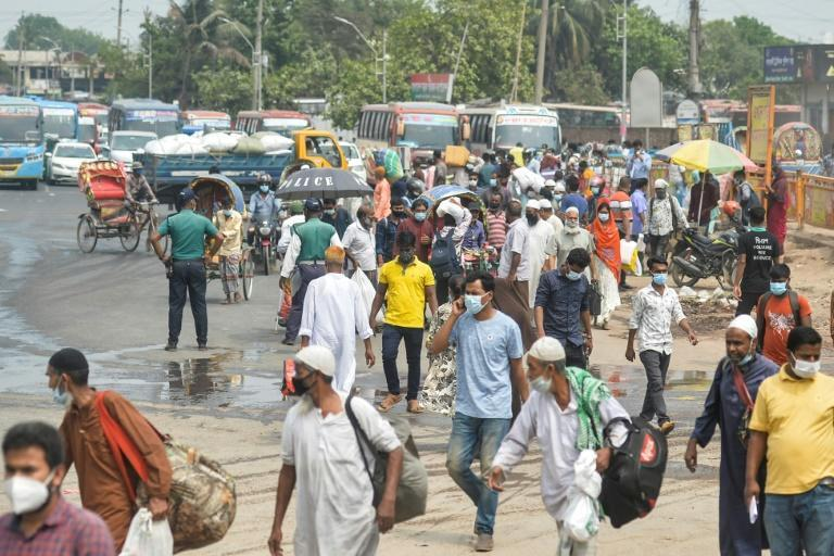People are flocking out of Dhaka ahead of an eight-day lockdown as Bangladesh's officials seek to control a spiralling virus outbreak