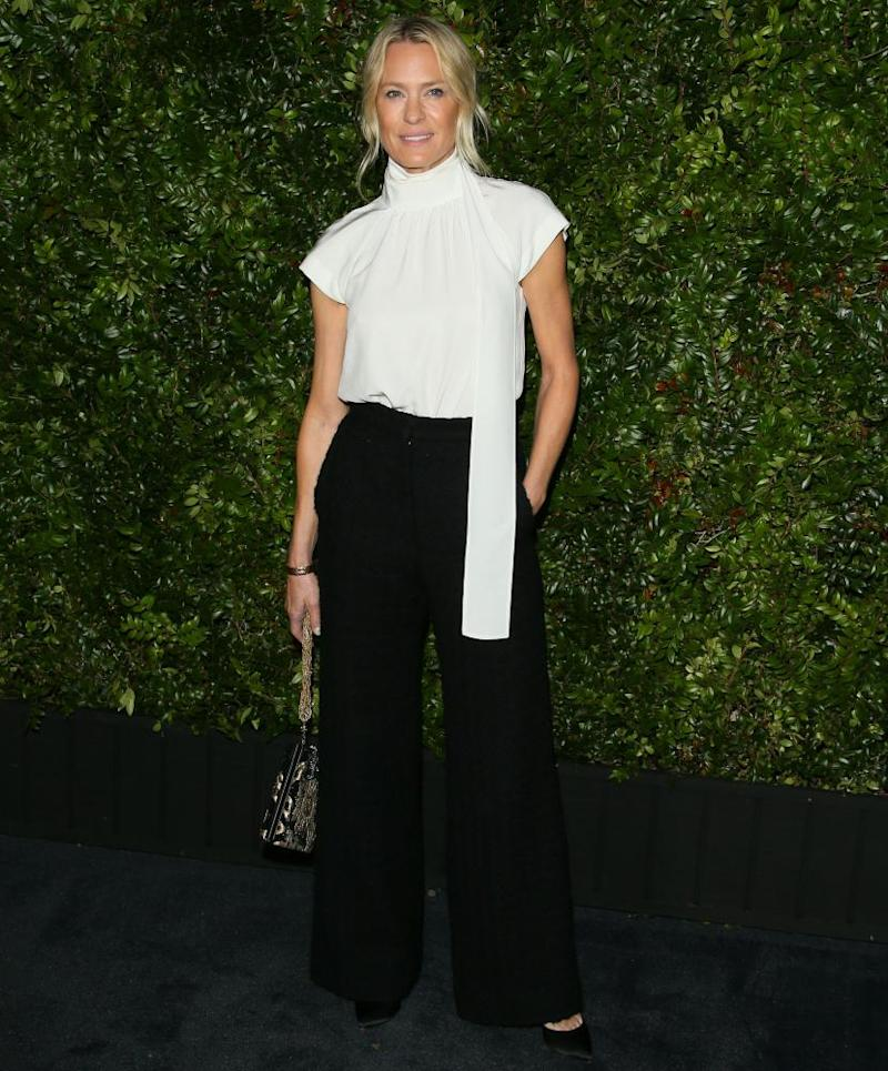 Robin Wright attends Charles Finch And CHANEL's 11th Annual Pre-Oscar Awards Dinner at Polo Lounge at The Beverly Hills Hotel on February 23, 2019 in Beverly Hills, California.