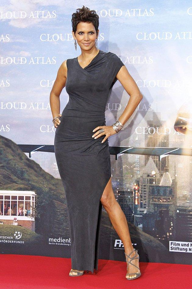 "Speaking of head-turners, check out Halle Berry and the stunning ensemble she donned for the Berlin premiere of ""Cloud Atlas."" The Oscar winner -- who never lets us down on the red carpet -- once again stole the spotlight thanks to her flawless features and this equally alluring Helmut Lang frock. Statement earrings and strappy Jimmy Choo heels completed her outfit. (11/5/2012)"