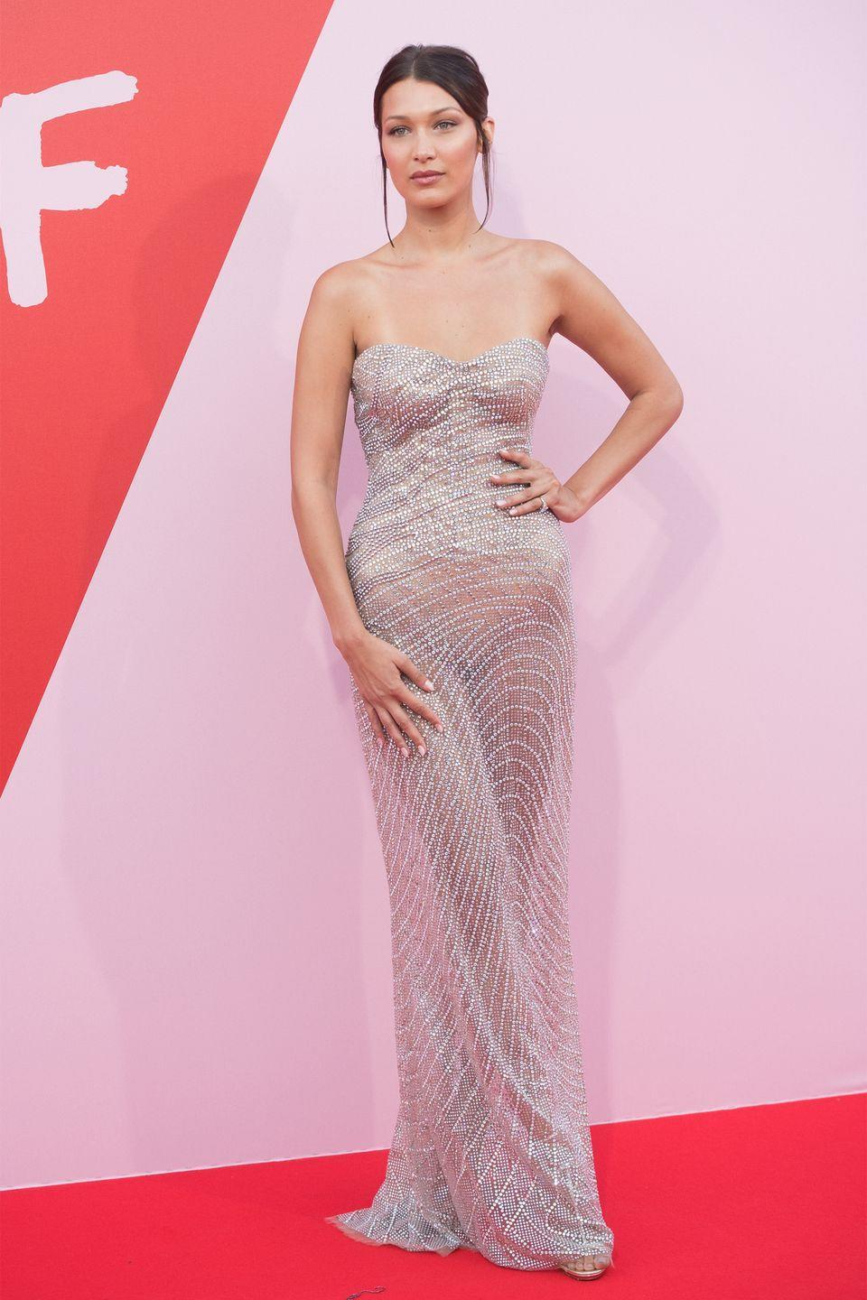 <p>In Roberto Cavalli couture at a Fashion for Relief event at Cannes Film Festival. </p>
