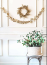 """<p>This gilded garland is sophisticated enough to leave hanging on your door or wall all year round. </p><p><a href=""""https://sugarandcloth.com/diy-golden-wreath-garland/"""" rel=""""nofollow noopener"""" target=""""_blank"""" data-ylk=""""slk:Get the tutorial."""" class=""""link rapid-noclick-resp"""">Get the tutorial.</a></p><p><a class=""""link rapid-noclick-resp"""" href=""""https://www.amazon.com/gp/product/B004CYFHS0?tag=syn-yahoo-20&ascsubtag=%5Bartid%7C10072.g.37499128%5Bsrc%7Cyahoo-us"""" rel=""""nofollow noopener"""" target=""""_blank"""" data-ylk=""""slk:SHOP WIRE"""">SHOP WIRE</a></p>"""