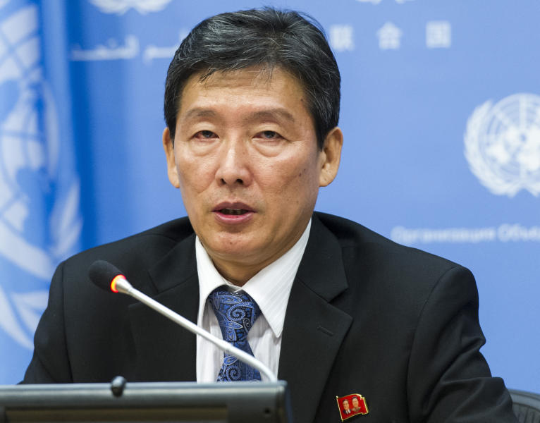 """In this photo provided by the United Nations, Ri Tong Il, Deputy Permanent Representative of the Democratic People's Republic of Korea to the United Nations, briefs the media on the latest developments in the Korean Peninsula, Friday, April 4, 2014 at United Nations Headquarters. Ri blamed the U.S. for aggravating tensions on the Korean Peninsula by continuing """"very dangerous"""" military drills with South Korea, by pursuing action in the U.N. Security Council against his country's recent ballistic missile launches and by going after Pyongyang's human rights performance. (AP Photo/United Nations, Mark Garten)"""