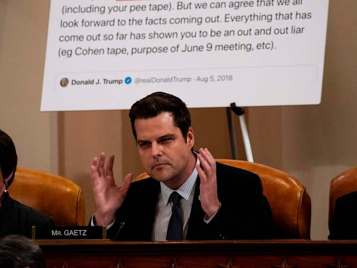 Rep. Matt Gaetz (R-FL) speaks during a public impeachment inquiry hearing with the House Judiciary Committee on Capitol Hill in Washington, DC, on December 9, 2019. -