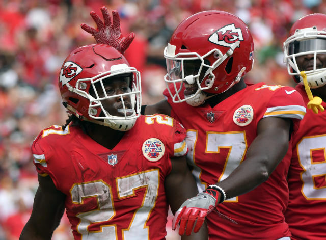 Kansas City Chiefs running back Kareem Hunt (27) has five touchdowns in his first two NFL games. (AP)