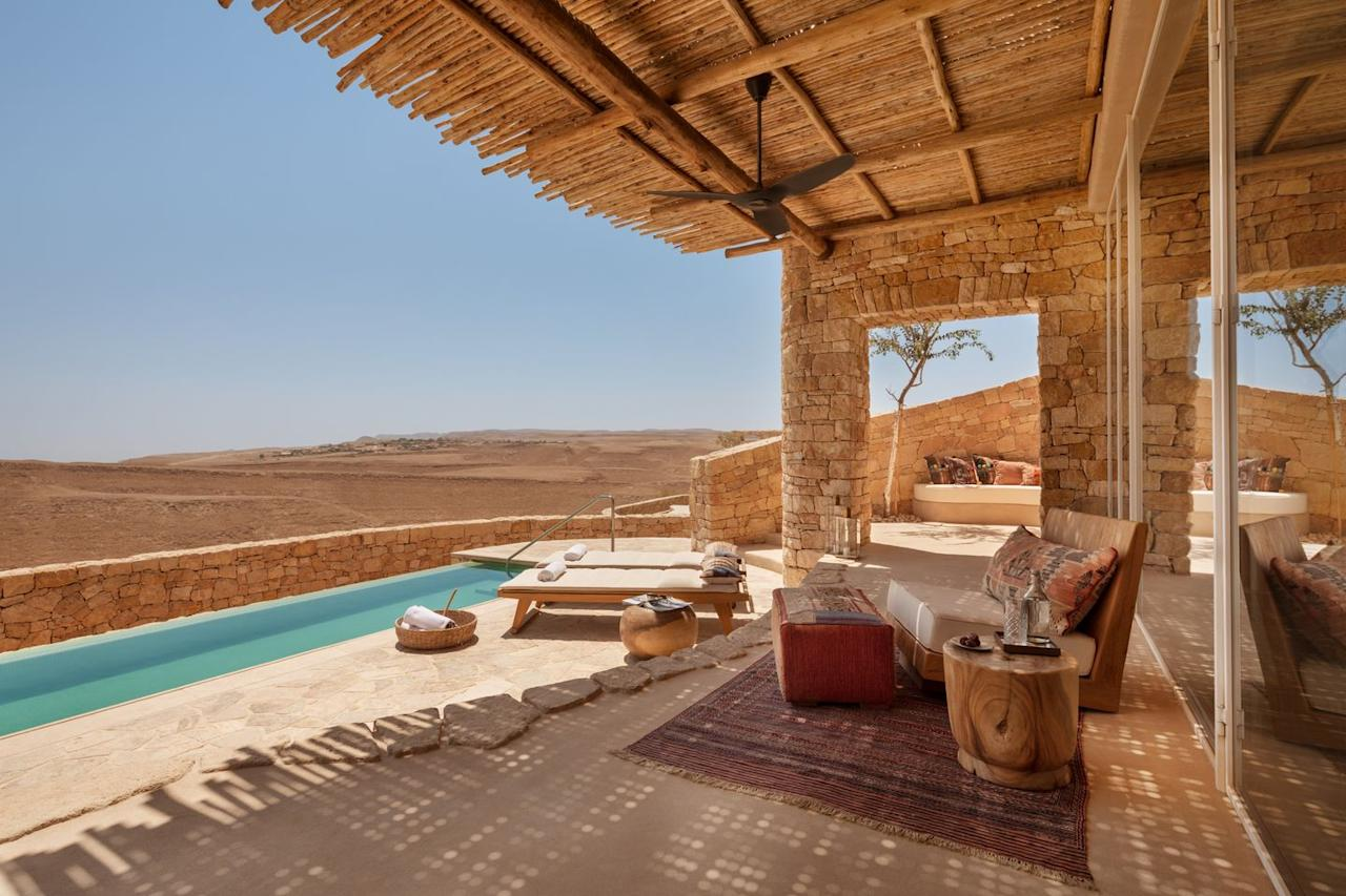 """<p>The highly anticipated Six Senses Shaharut, set in the sprawling sun-drenched landscape of the Negev Desert, is all about high drama and unrivalled wellness experiences. The 60 suites and pool villas, hewn from local stone and filled with desert blooms and knick-knacks crafted by local artisans, will sit cliffside above the southern Arava Valley. In keeping with the brand's wellbeing ethos, the expansive spa will include hammams, a string of signature and speciality Six Senses treatments and traditional therapies. There will also be a yoga studio and nail bar, along with an Israeli-Mediterranean restaurant and poolside bar. A desert activity centre dubbed Earth Lab, where Six Senses showcases its sustainability efforts, and activities from dune trekking to camping-under-the-stars are other standout highlights.</p><p><a href=""""https://www.sixsenses.com/en/resorts/shaharut"""" target=""""_blank"""">Six Senses Shaharut</a>, from £788 a room a night, will open 1 December.</p>"""