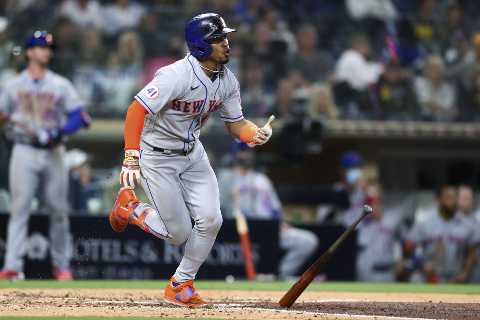 New York Mets' Francisco Lindor heads to first on a solo home run off San Diego Padres starting pitcher Joe Musgrove during the fifth inning of a baseball game Saturday, June 5, 2021, in San Diego. (AP Photo/Derrick Tuskan)