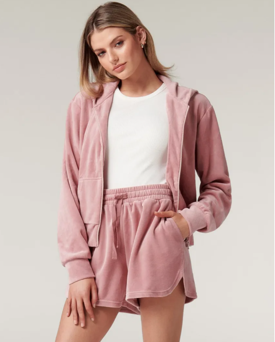 Cropped zip up hoodie and matching shorts