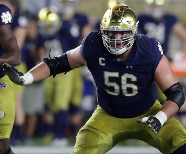 FILE - In this Oct. 21, 2017, file photo, Notre Dame offensive lineman Quenton Nelson defends the line during the first half of an NCAA football game against Southern California,in South Bend, Ind. Neldson is expected to be a first round pick in the NFL Draft.(AP Photo/Carlos Osorio)
