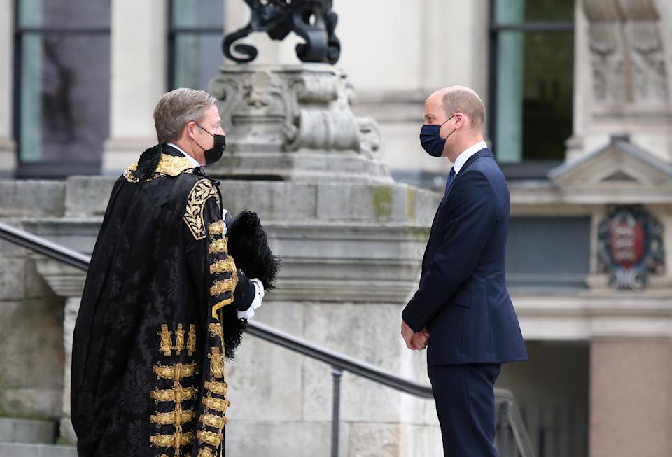 LONDON - UNITED KINGDOM - JULY 5: Duke of Cambridge Prince William arrives in St. Paulâs Cathedral to mark the 73rd birthday of UKâs National Health Service (NHS) in London, England on July 5, 2021. (Photo by Tayfun Salci/Anadolu Agency via Getty Images)