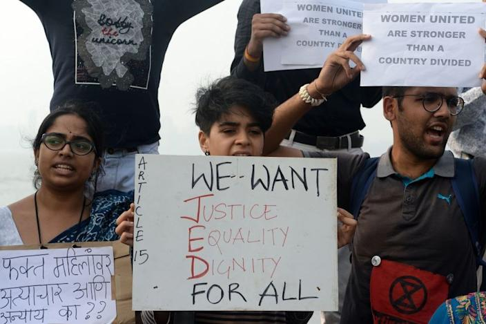Protesters in Mumbai after the rape and murder of a 27-year-old vet in Hyderabad