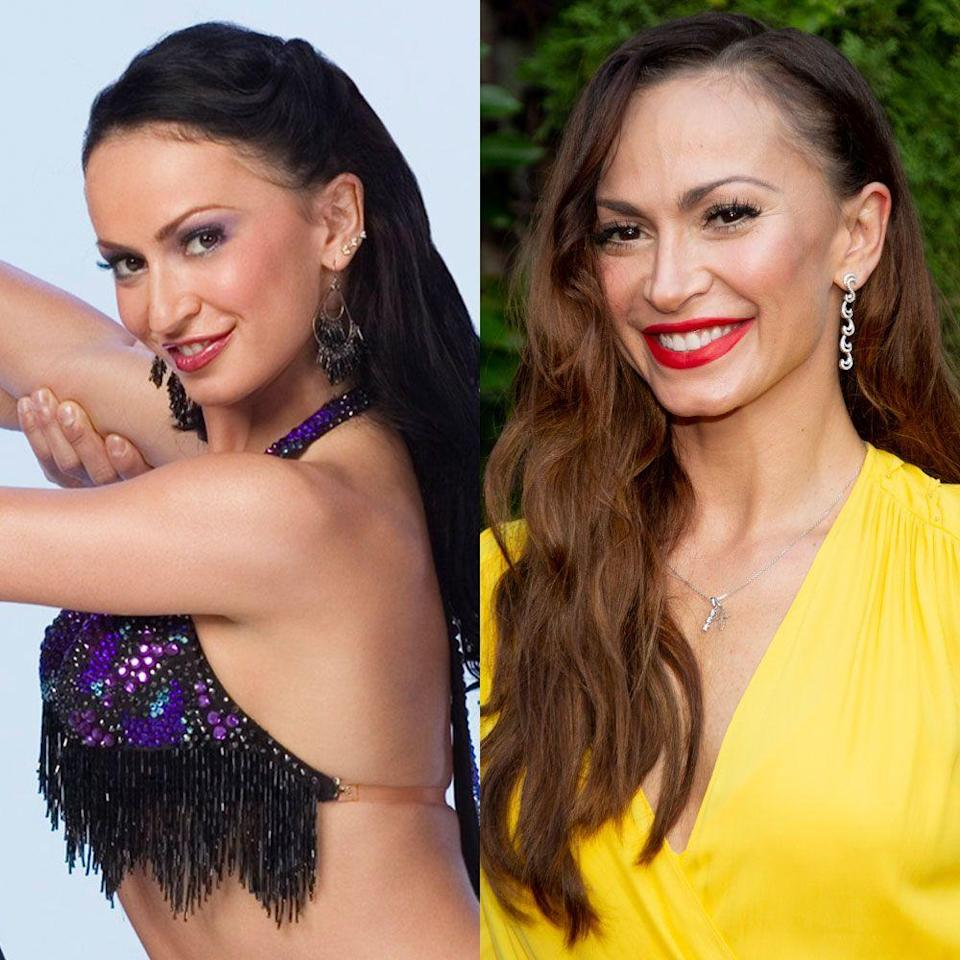 """<p>Karina made her <em>DWTS</em> debut on season three in 2006, and she came in second with then-boyfriend Mario Lopez. While Karina was taking season 20 off, she released her book, <a href=""""https://www.amazon.com/Were-Just-Not-That-Into/dp/1618688820"""" rel=""""nofollow noopener"""" target=""""_blank"""" data-ylk=""""slk:We're Just Not That Into You: Dating Disasters from the Trenches"""" class=""""link rapid-noclick-resp""""><em>We're Just Not That Into You: Dating Disasters from the Trenches</em></a>. She still competes and <a href=""""https://www.foxnews.com/entertainment/dancing-with-the-stars-alum-karina-smirnoff-on-whether-shell-ever-return-i-miss-it"""" rel=""""nofollow noopener"""" target=""""_blank"""" data-ylk=""""slk:hasn't ruled out a return"""" class=""""link rapid-noclick-resp"""">hasn't ruled out a return</a> to the reality competition show.</p>"""