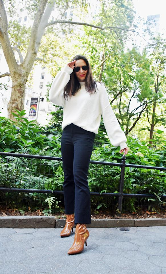 <p>Whether you're getting dressed for work, a weekend of activities, or dinner with friends, a white sweater and black jeans is the perfect Fall outfit, especially if you're a fan of versatile neutrals.</p> <p><em>On Dana: POPSUGAR at Kohl's sweater and jeans, Stuart Weitzman boots, and Illesteva sunglasses.</em></p>