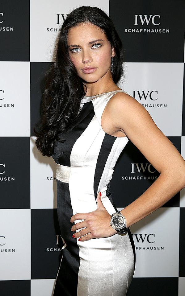 GENEVA, SWITZERLAND - JANUARY 22:  Adriana Lima visits the IWC booth during the Salon International de la Haute Horlogerie (SIHH) 2013 at Palexpo on January 22, 2013 in Geneva, Switzerland.  (Photo by Chris Jackson/Getty Images for IWC)