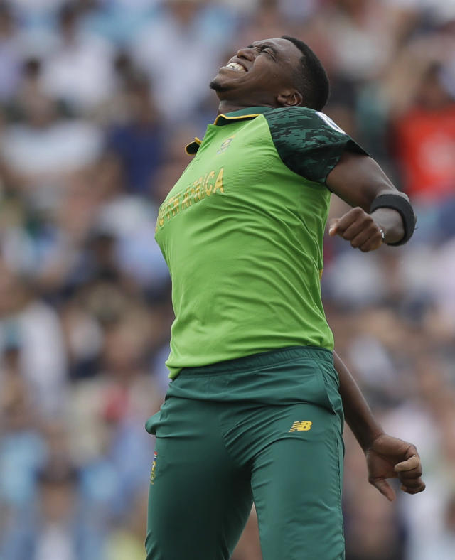 South Africa's Lungi Ngidi celebrates taking the wicket of England's Ben Stokes during the World Cup cricket match between England and South Africa at The Oval in London, Thursday, May 30, 2019. (AP Photo/Kirsty Wigglesworth)