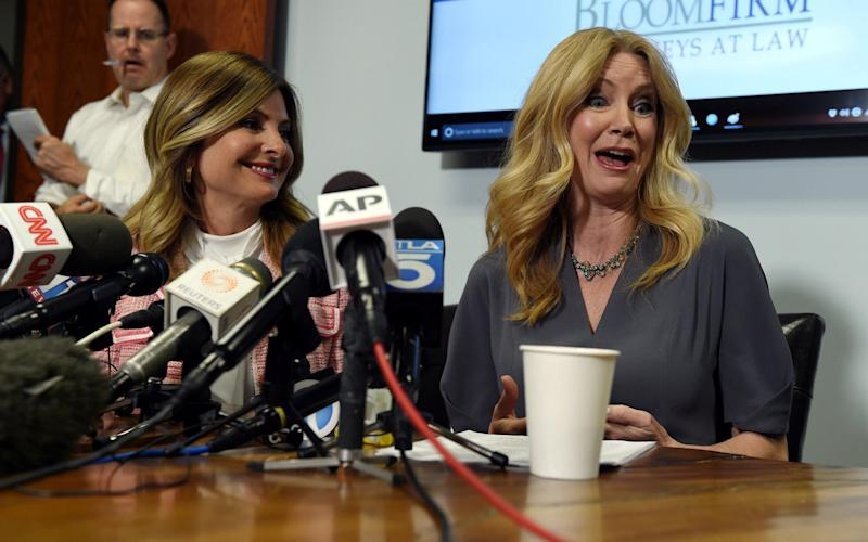Radio-TV personality Wendy Walsh (R) speaks with reporters alongside her attorney, Lisa Bloom, to discuss her allegations of sexual harassment by Fox News host Bill O'Reilly - Credit: REUTERS
