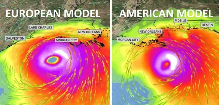 Both the European and American models show a landfalling hurricane near Louisiana late weekend and early next week. Pictured here are wind gusts. The white illustrates gusts over 100 mph. This is subject to large changes as conditions evolve. / Credit: CBS News