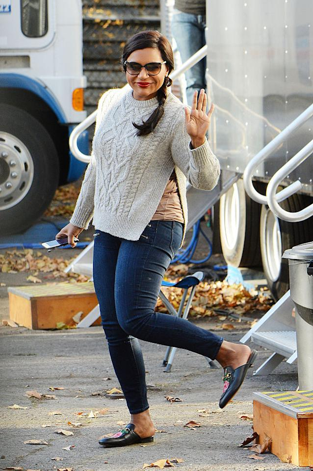 <p>Girl is the epitome of our off-duty goals. She rocked the perfect cable knit sweater with skinny jeans and a pair of covetable Gucci slides (that are currently sold out pretty much everywhere). <i>(Photo by Getty Images)</i></p>