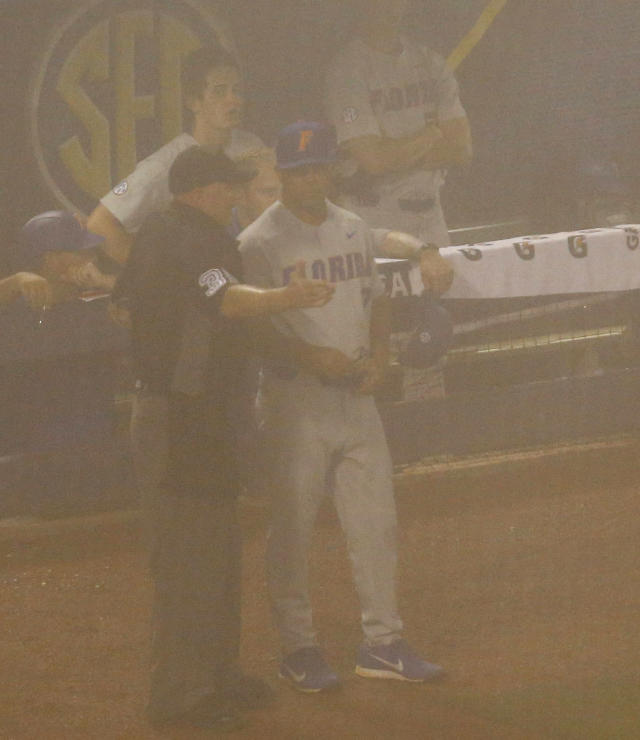 Umpire Scott Cline talks with Florida coach Kevin O'Sullivan as fog results in a stoppage of play during the sixth inning of Florida's Southeastern Conference tournament NCAA college baseball game against LSU, Friday, May 25, 2018, in Hoover, Ala. (AP Photo/Butch Dill)