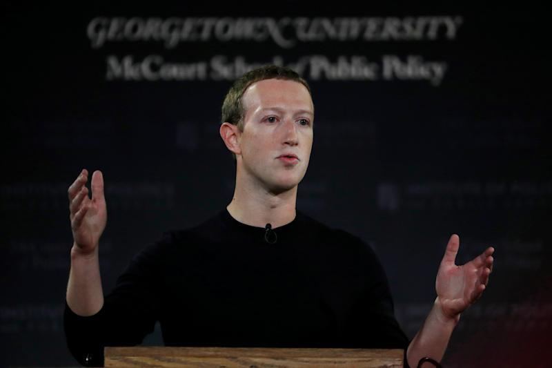 "Facebook Chairman and CEO Mark Zuckerberg addresses the audience on ""the challenges of protecting free speech while combating hate speech online, fighting misinformation, and political data privacy and security,"" October 17, 2019. REUTERS/Carlos Jasso"