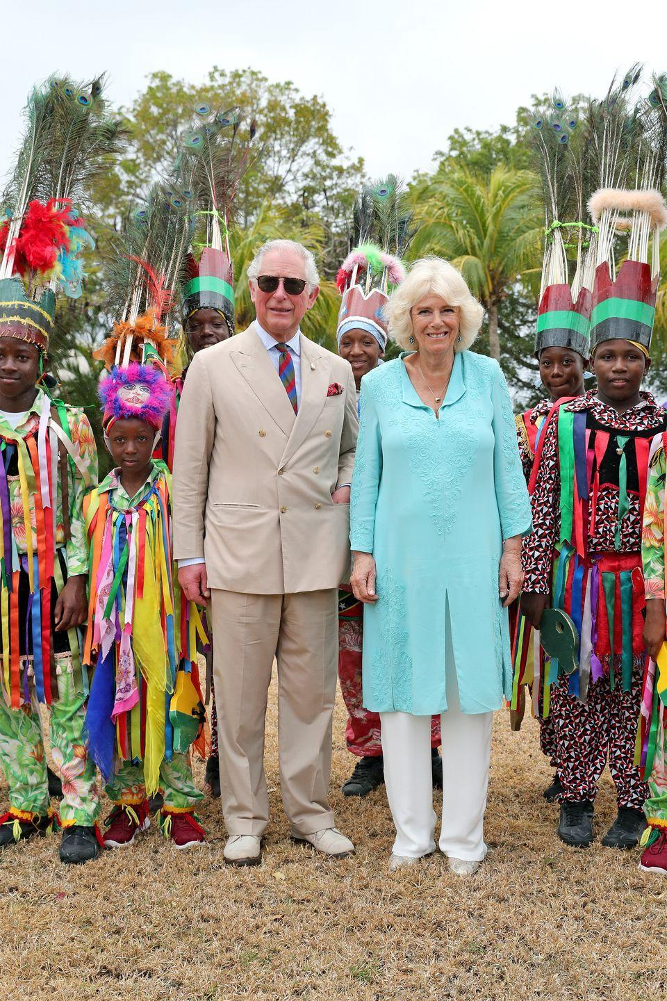 <p>Princes Charles and Camilla attend a reception at the house of the Governor-General on the Caribbean island of Nevis.</p>