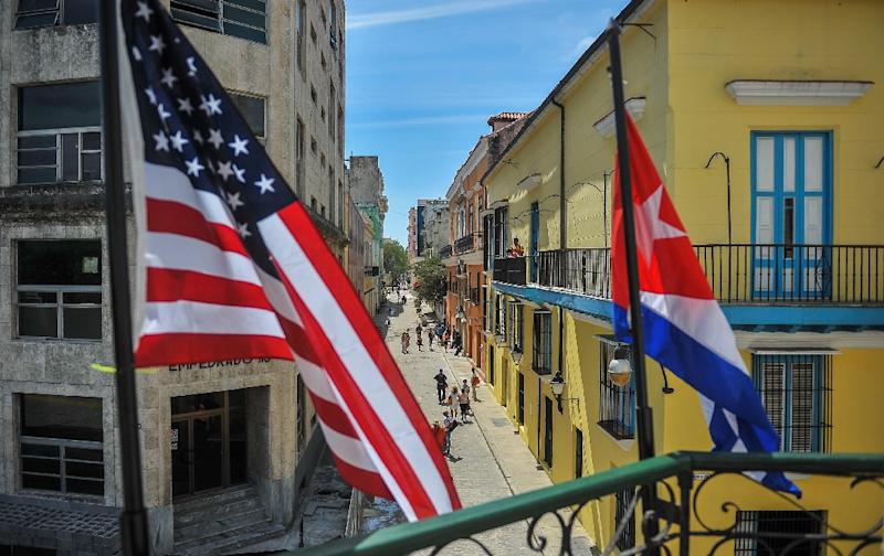 """Cuban and US flags in Havana. Cuban state television said US President Donald Trump's statement railing against """"cruel despotism"""" in the Caribbean country was """"ridiculous"""""""