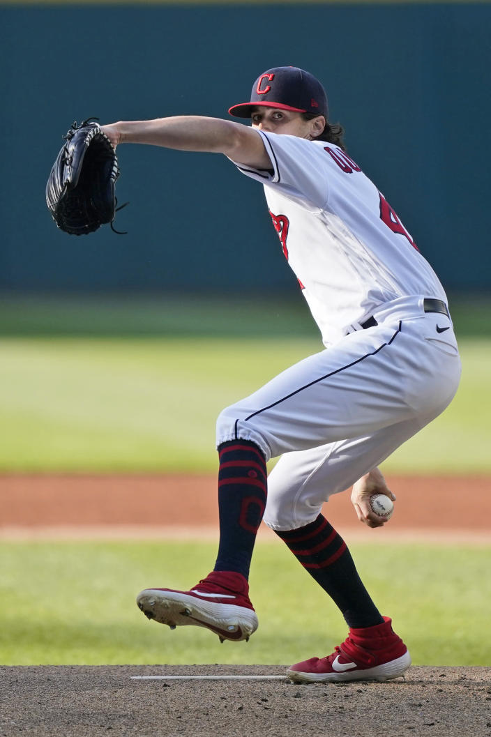 Cleveland Indians starting pitcher Cal Quantrill delivers in the first inning of the second baseball game of a doubleheader against the Chicago White Sox, Monday, May 31, 2021, in Cleveland. (AP Photo/Tony Dejak)