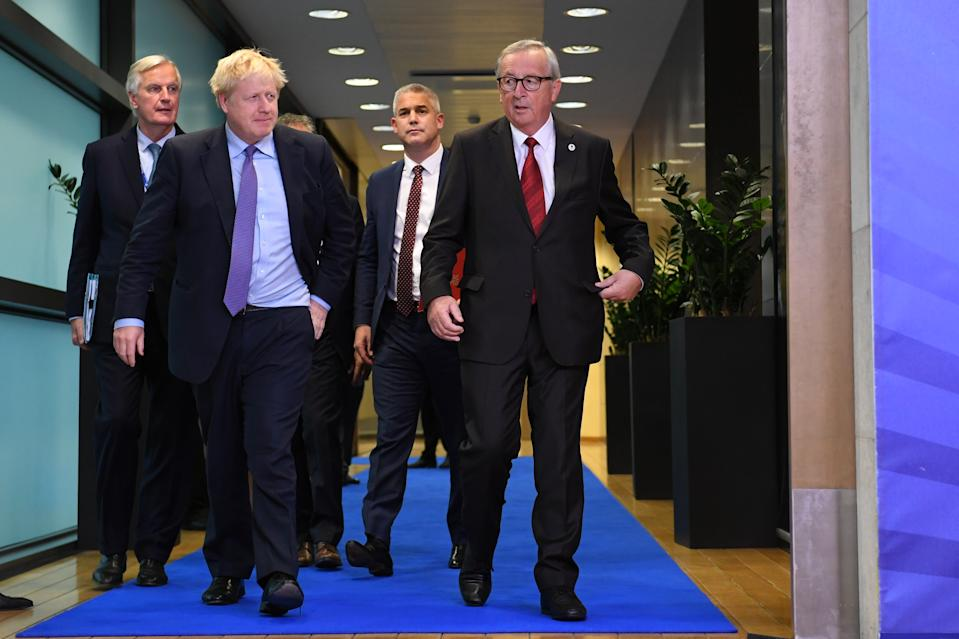Michel Barnier, the EU's Chief Brexit Negotiator, Prime Minister Boris Johnson, Brexit Secretary Stephen Barclay and Jean-Claude Juncker, President of the European Commission, ahead of the opening sessions of the European Council summit at EU headquarters in Brussels. (Photo by Stefan Rousseau/PA Images via Getty Images)