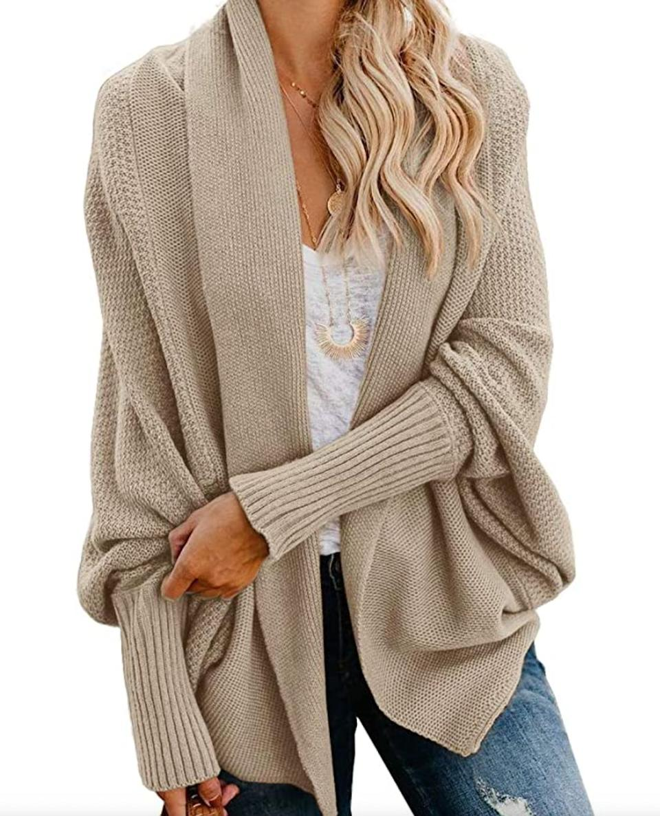 "<a href=""https://amzn.to/3ctl4ty"" target=""_blank"" rel=""noopener noreferrer"">This slouchy cardigan</a> is available in sizes S to XL in 14 colors. Find it for $40 on <a href=""https://amzn.to/3ctl4ty"" target=""_blank"" rel=""noopener noreferrer"">Amazon</a>."