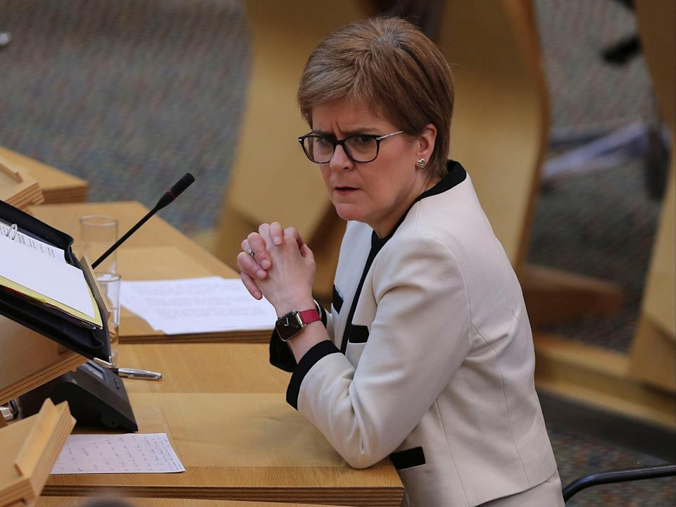 <p>Nicola Sturgeon at first minister's questions in the Scottish parliament on Thursday </p> (Getty)
